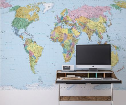 Map of The World wall mural wallpaper